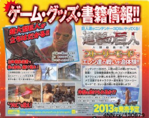 Attack on Titan for 3DS is An Action Game