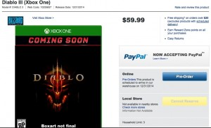 Diablo 3 For Xbox One? Best Buy Says So