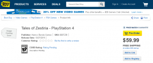 Tales of Zestiria Listed For PS4 On Best Buy's Website