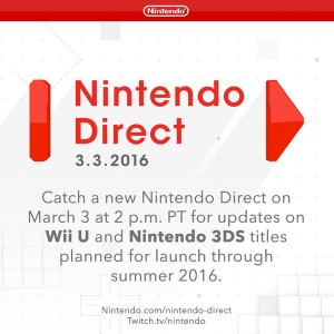 Nintendo to Hold a Nintendo Direct on March 3